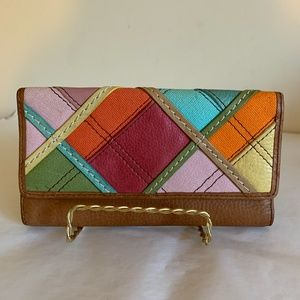 FOSSIL Patchwork Plaid Checkbook Wallet